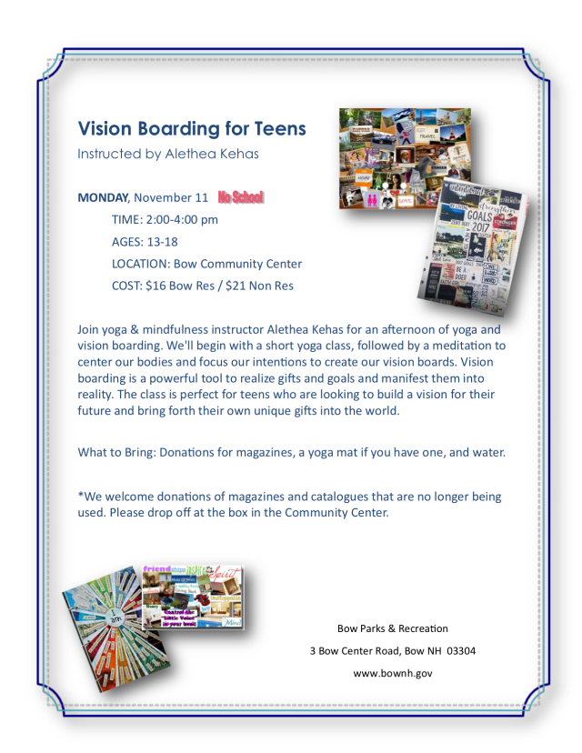 Yoga and vision board workshop for teens in NH