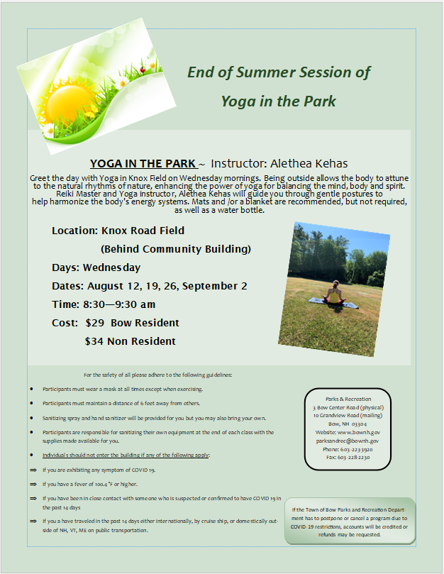 End of summer Yoga in the Park
